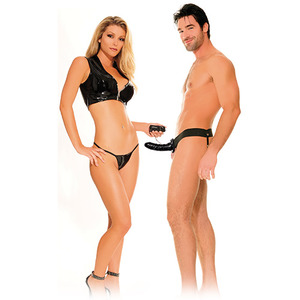 VIBRATING HOLLOW STRAP ON FOR HIM OR HER BLACK, lungime 15 cm